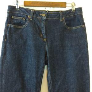 Boden dark wash five pocket straight leg jeans